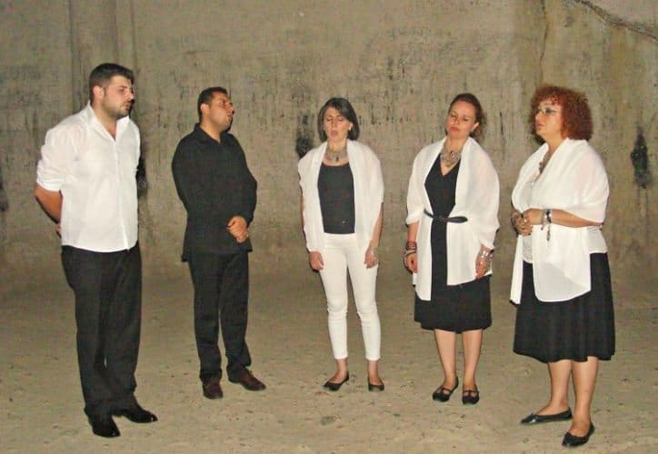 Garni Vocal Quintet performing ancient folk songs in Geghard Monastery.