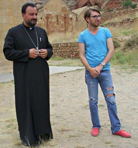 Noravank's chatty priest/emcee with legendary guide Rafik Santrosyan.