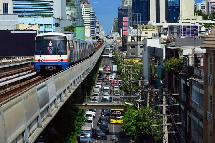 Bangkok's Sky Train makes getting around the crowded city much easier.