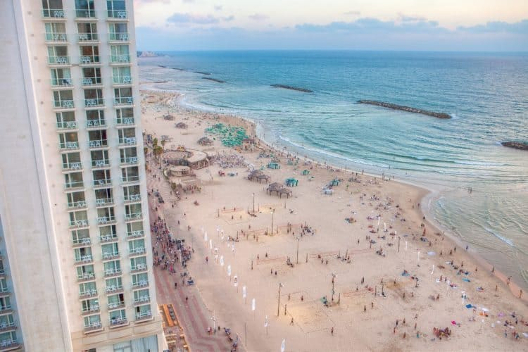 The beach in Tel Aviv.