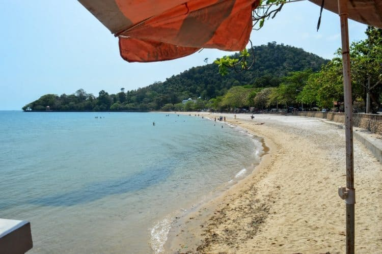 The sandy beach in Kep, 18 km from Kampot, Cambodia. Monica Gray photos.