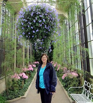 Strolling in the conservatory at Longwood Gardens.