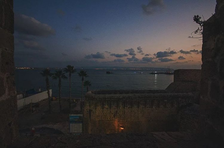 The last light over the Mediterranean sea in Acre, Israel.