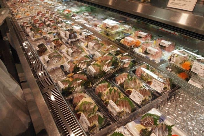 Sushi to go at the Ekimise, below the street at Asakusa station in Tokyo.