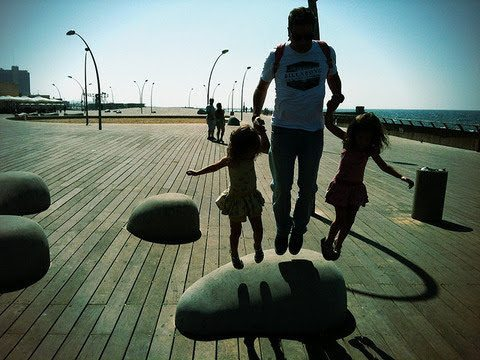 Family time at the playground at the Port of Tel Aviv.