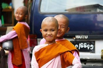 Young nuns in Myanmar.