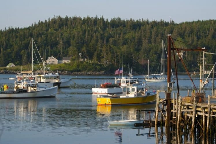 The coast of Maine is full of busy lobster and fishing boats. Cutler Harbor is the northernmost harbor in Maine.
