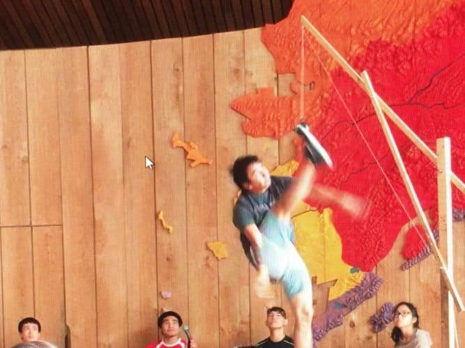 A Demonstration of the One Foot High Kick at Alaska Native Heritage Center Photos by Susmita Sengupta