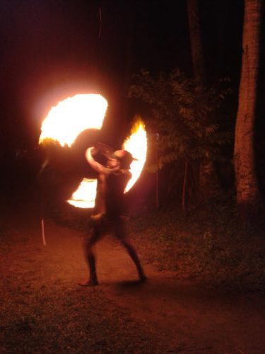 A fire show on the beach in the Philippines.