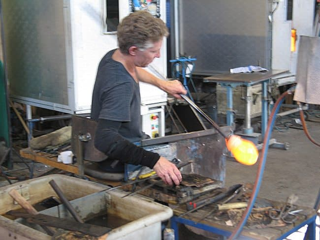Shaping the glass in Sweden.
