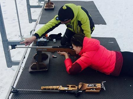 The author takes aim at the biathlon course in Seefeld. Cathie Arquilla photos.