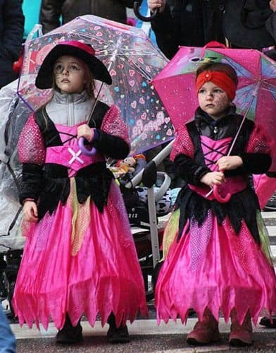 Children dressed up for the carnival in Cerkno.