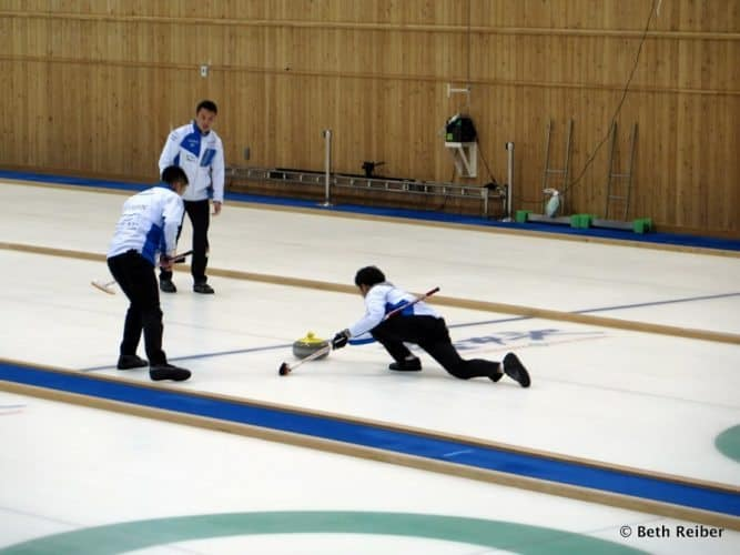 Curling at the Karuizawa Ice Park.