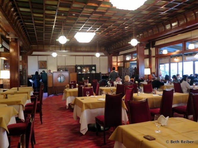 Dining hall of the Mampei Hotel in Karauizawa, Japan.