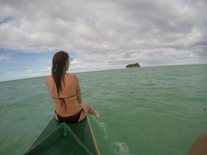 Paddling to Guyam Island, Philippines near Siargao.  Alexandra Wagner photos.