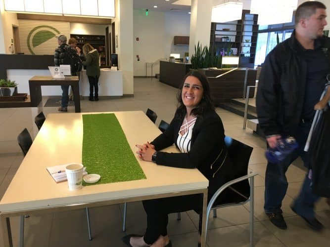 """Front desk Manager Alex at the Element Seaport Boston. """"Guests love the big lobby and its many different seating areas."""""""