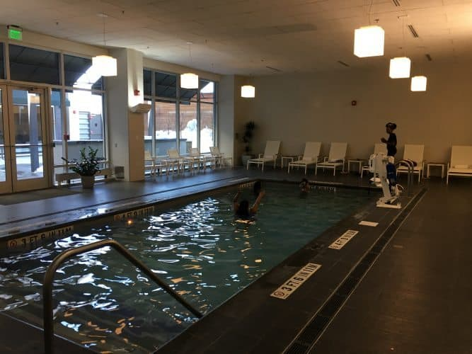The saltwater pool at the Element Seaport Boston Hotel.