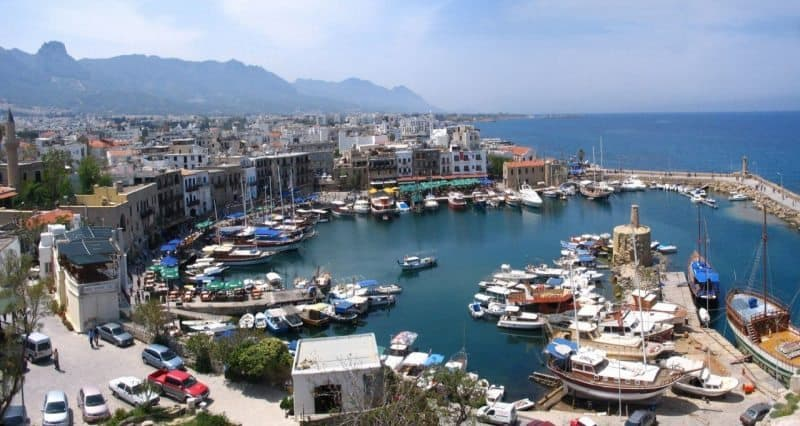 The view over the North Cyprus harbor boasts stunning views of the city as well as the Mediterranean.