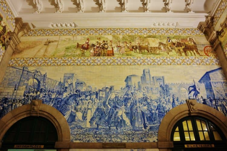 One of the many murals at the Sao Bento railway station in Porto, Portugal.