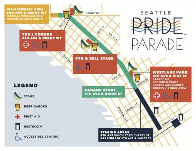 The route of Seattle's Gay Pride Parade through the city.