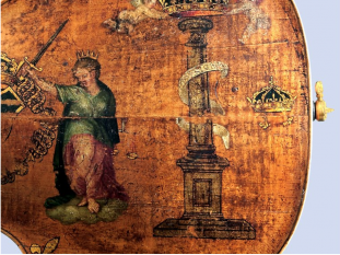 Close up of paintings on King Cello at National Music Museum