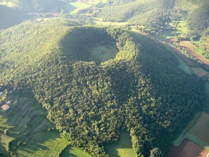 Santa Margarida Volcano, located in the Garrotxa Volcanic Zone Natural Park / Carquinyol