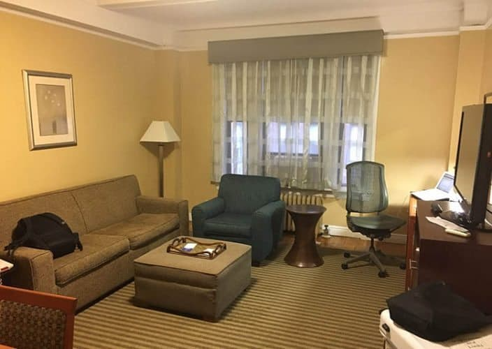 The large living room at the Best Western PLUS Hospitality House on E. 49th St, in Manhattan.