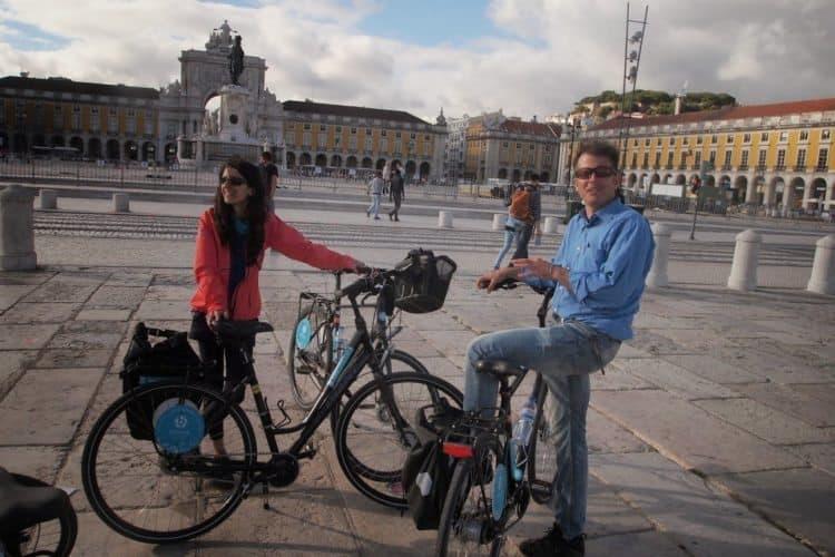 Biking along the Tagus river in Lisbon, Portugal.