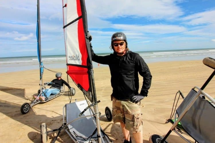 Blokarting with Karen! When you learn to harness the skill, you're hooked! You'll want to either buy one or start planning a return to one of Ireland's finest beaches.