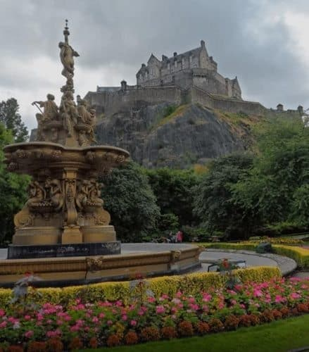 Edinburgh Castle upon its crag viewed from Princes Street Gardens. The Black Dinner of 1440 occurred here and inspired Game of Thrones' Red Wedding scene.'