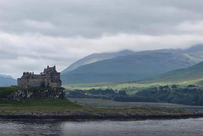 An unforgettable view of Duart Castle, with the hills of the Isle of Mull in the background, from the Oban-Craignure ferry.