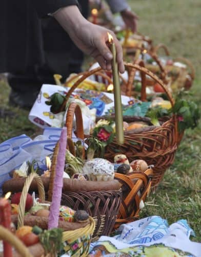 Making traditional Easter baskets in Ukraine.