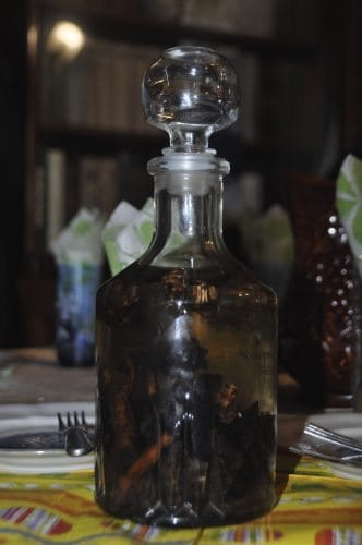 A bottle of Ukranian home-brewed Vodka.