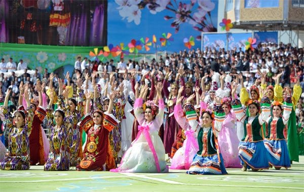Navruz ceremonies include traditional Uzbek dance and garments.