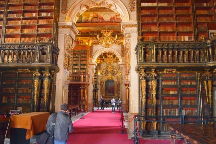 Biblioteca Joanina, the university library, built in the 18th century on top of the old royal prison.