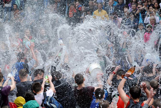 A celebration of Wet Monday in Lviv, Ukraine.