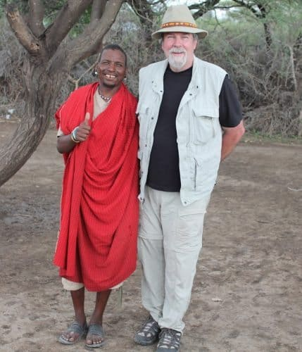The author visits with a Barbaig elder in Tanzania.