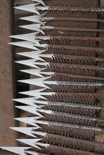Arrow tips made by the blacksmiths.