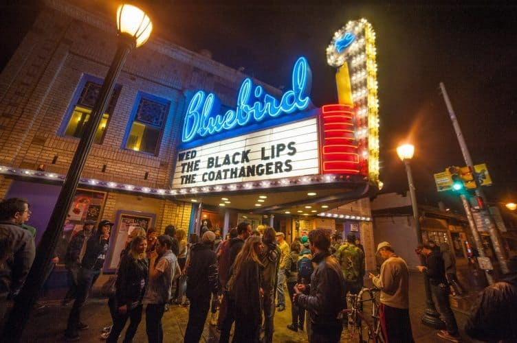 The Bluebird Theater in Denver is another famous music venue, adding to the nearly 100 places you can enjoy live music in the city.