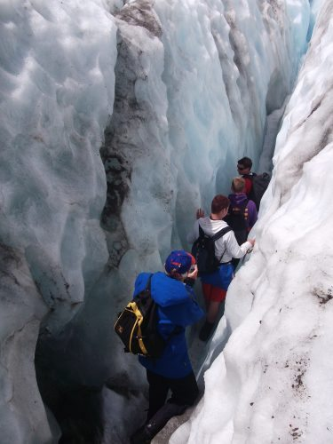 Crawling through the crevasses at Franz Josef Glacier.