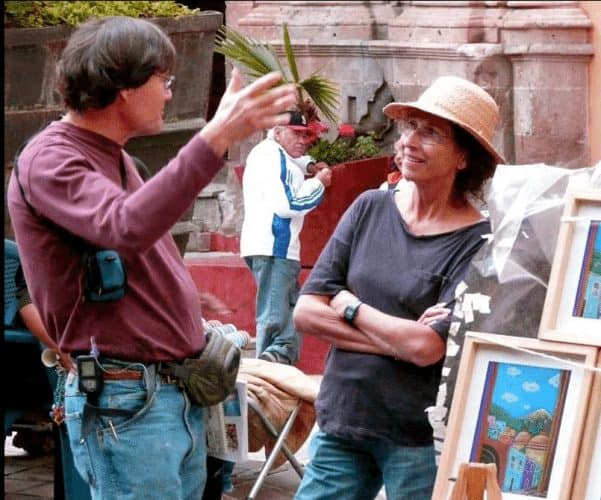Meeting an artist in the square in Guanajuato, Mexico.