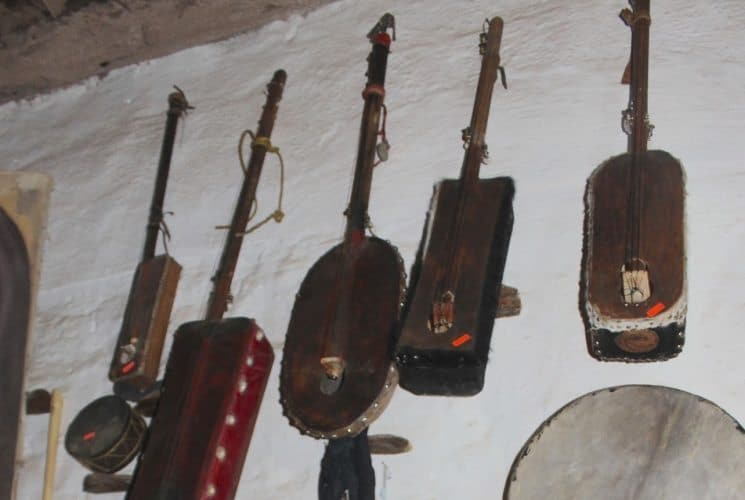 One store in the ruins of the ancient city sells art and musical instruments.