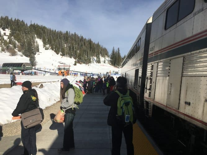 The Ski Train is run by Amtrak, and takes skiers from Union Station 90 minutes to Winter Park Ski Resort, dropping them off slopeside.