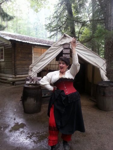 The author in costume at the Liar's Camp in Skagway, Alaska, where she had a seasonal job.