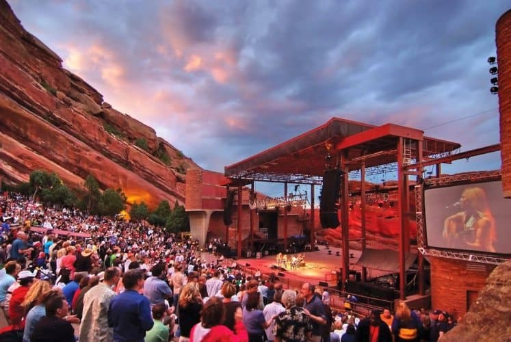 Red Rocks Amphitheater in nearby Morrison, Colorado is a spectacular music venue, famous among all types of artists who love playing there.