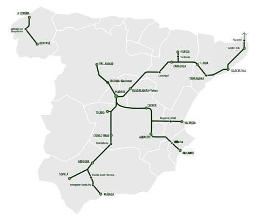 AVE high-speed trains cover most of Spain.