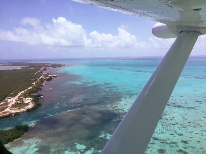 The Turquoise waters of the Caribbean as I head to Ambergris Caye Belize.