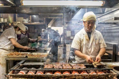 Grilling Unagi Kawatoyo in Narita
