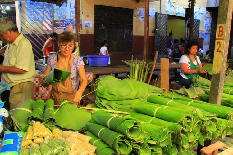 Banana leaves for sale in Belen Market.