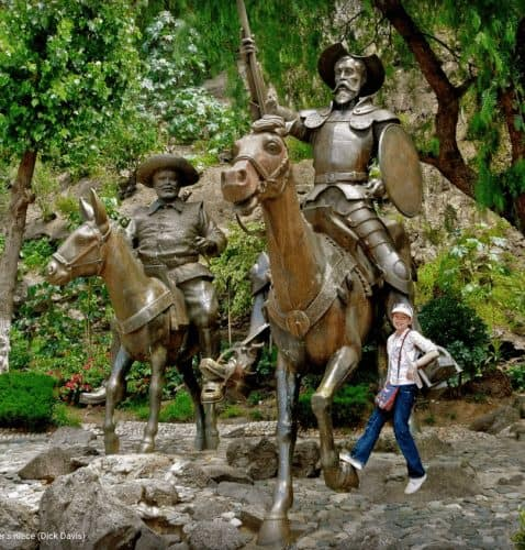 Statue of Don Quixote and Sancho Panza in the Plaza Allende with the photographer's niece. Dick Davis photo.